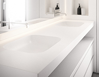 vivari bathroom interior with solid surface material - basins, shower, tubs