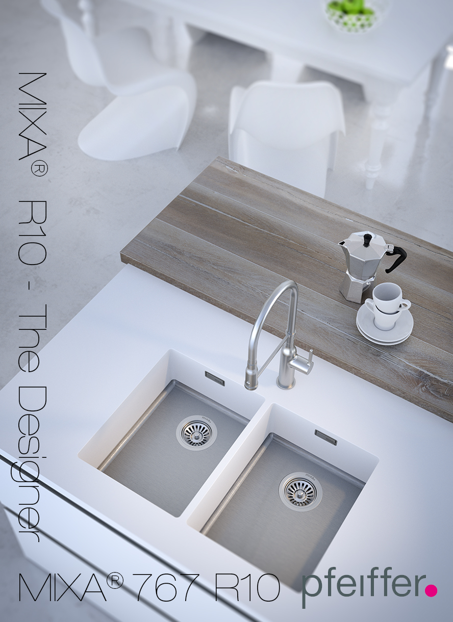 MIXA Kitchen sink, seamless integrated in a solid surface countertop.